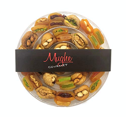 MUGHE GOURMET Dried Fruit Apricot & Figs Stuffed w/ Pistachio, Walnuts, Hazelnuts & Almonds Gift Box (Special Turkish Dried & Tropical Fruits Mix, 20 Ounces - 1.4 lbs)