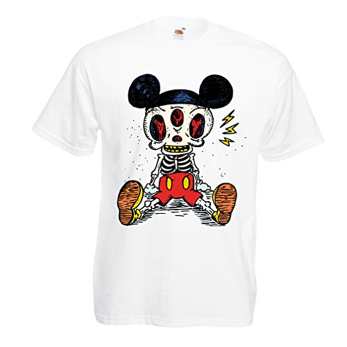 T shirts for men Mouse Skeleton Halloween party outfits Trick or Treat Death Skull design (Medium White Multi Color)