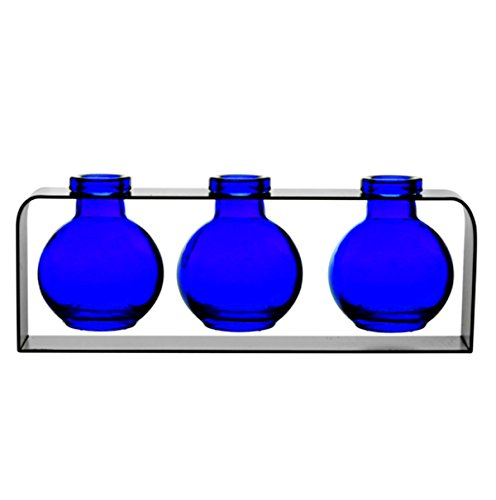 Small Glass Vases, Colored Bottles, Decorative Glass Vases, Unique Vase G217VF Cobalt Blue ~ 3 Ball Bottles with Stand ~ Modern Vases, Decorative Accents, Glass Centerpieces, Flower Vases, Bud Vases