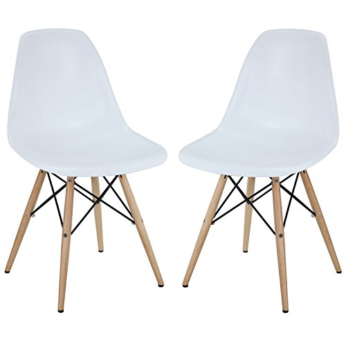 Modway Plastic Chairs White Wooden Features