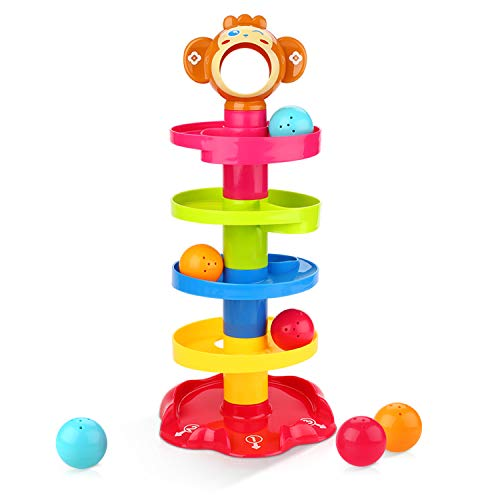 Swirl Ball - Peradix Ball Drop Toys Swirl Ball Tower Roll Swirling Ramp for Baby and Toddler Development Educational Toys, Stack, Drop and Go Ball Ramp Toy Set Includes 3 Spinning Activity Rattle Balls with Bells