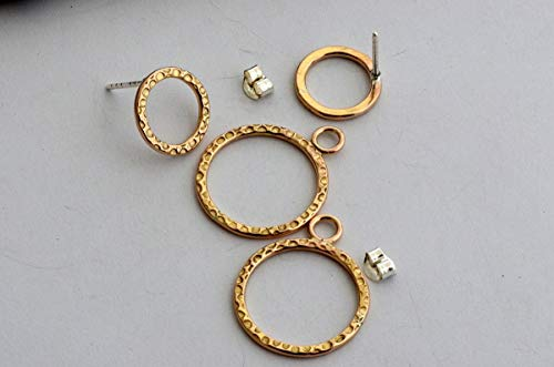 40a65621ddfb6 14k yellow gold filled ear jackets front back double sided earrings  hammered hoops circle studs
