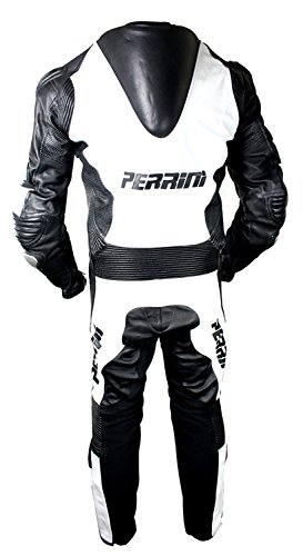 1 Pc Perrini White and Black Genuine Cow Leather Motorbike Riding Motorcycle Racing Suit by PERRINI (Image #3)