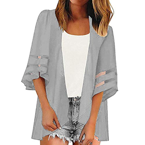 Women Solid Color Top AmyDong Women Beach Wear Mesh Panel 3/4 Bell Sleeve Fashion Loose Chiffon Kimono Cardigan Gray