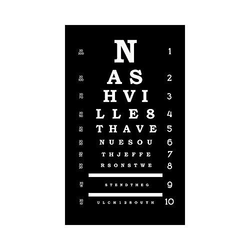 Tn Framed Nashville (20x36 City Landmarks Artwork Eye Chart Nashville TN Printed on Canvas Stretched Framed Ready to Hang)
