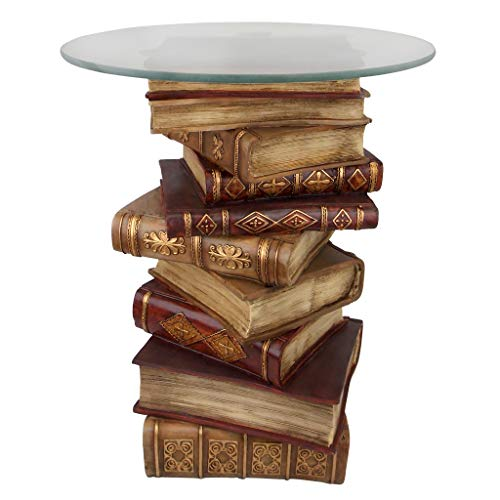 Design Toscano Power of Books Vintage Decor Stacked Books End Table with Glass Top, 21 Inch, Polyresin, Full Color