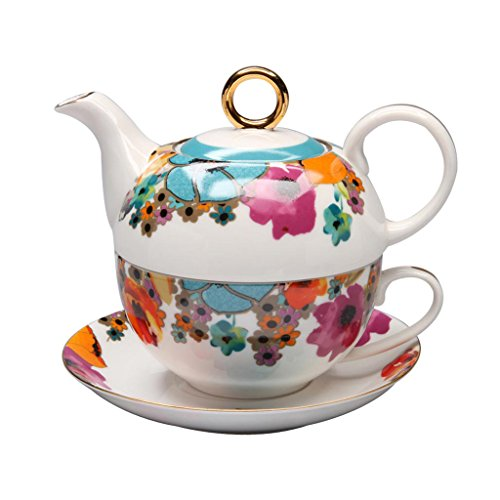 Learn More About Grace Teaware Porcelain 4-Piece Tea For One (Multi-Color Poppy)