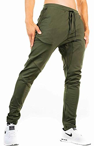 TBMPOY Men's Essential Sport Track Pants Casual Woven Activewear with Pockets(ArmyGreen,US M)