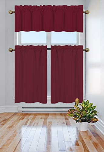 Elegant Home Collection 3 Piece Solid Color 90% Blackout Kitchen Window Curtain Set with Tiers and Valance Solid Thermal Room Darkening Drape Window Treatment # R3 MF (Burgundy)
