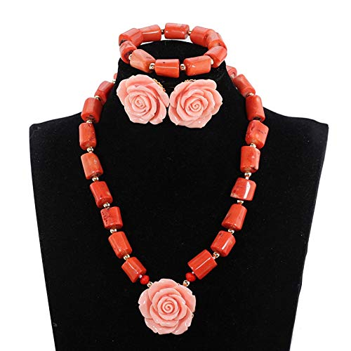 - Orange Coral Necklace Sets | Pink Flower Pendant | Jewelry Set for Women