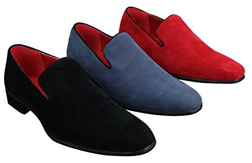 En Pour Rouge Couleur Homme Décontractée Et Mocassin Bleu Daim Chaussure Chic Noir qRtwna5K