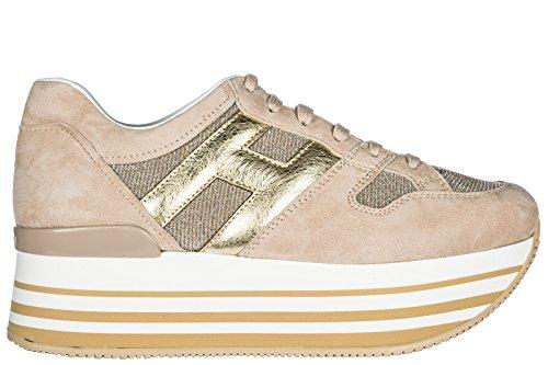 Hogan Donna Sneakers Donna Scarpe Scamosciate Sneakers H222 Beige