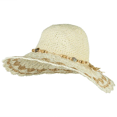 Jeanne Simmons Toyo Braid Scalloped Brim Straw Hat - White - Toyo Wide Braid Hat