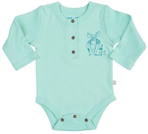 Finn + Emma Organic Cotton Long Sleeve Bodysuit for Baby Boy or Girl - Pool Blue, 0-3 Months