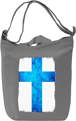 Finland Flag Borsa Giornaliera Canvas Canvas Day Bag  100% Premium Cotton Canvas  DTG Printing 