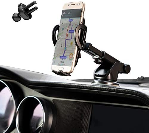CottyMax Phone Mount for Car Cell Phone Car Holder Car Cell Phone Mount Car Dashboard Windshield Air Vent Long Arm Strong Suction Cell Phone Car Mount fit for All Smartphone