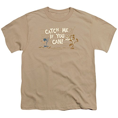 Kids Road Runner and Wile E. Coyote Catch Me Youth T-shirt, Sand, Small