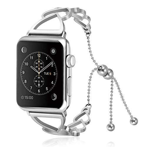 Cywulin Compatible with Apple Watch Bracelet Bangle Bands 38mm 42mm 40mm 44mm, Stainless Steel Dressy Cuff Replacement Strap Adjustable for iWatch Series 4 3 2 1 Women Girls (38mm/40mm, Silver)