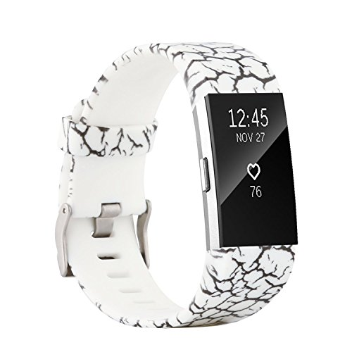Accessory Band/ Interchangeable Wristband Bracelet Strap with Metal Watch Clasp for Fitbit Charge 2 Fitness Tracker (Marble, Small Size) ()