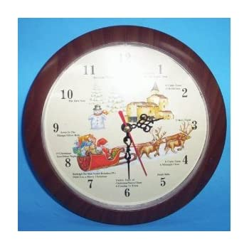 musical christmas wall clock plays 12 different carols one every hour - Musical Christmas Clock