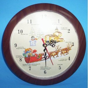 Amazon.com: Musical Christmas Wall Clock Plays 12 Different Carols ...