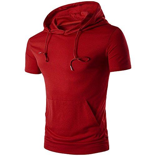(Men's T-Shirt, Hipster Hip Hop Hoodie Soft Short-Sleeved Slim Fit Tee Shirt Blouse Zulmaliu (Red,L))