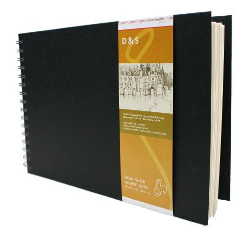 HAHNEMUEHLE Skizzenbuch D&S A4 140g 80 Blatt QF schwarz Spiralheftung, 10628215