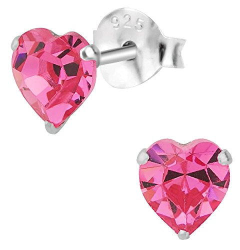 Hypoallergenic Sterling Silver Pink Crystal Heart Stud Earrings for Kids (Nickel Free) (Sterling Heart Silver Earrings Crystal)
