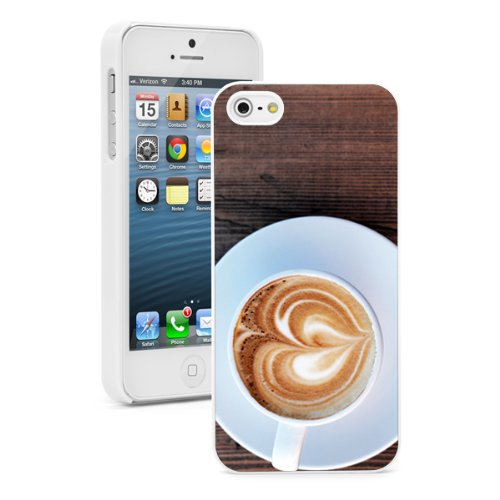 Apple iPhone 5c White 5CW210 Hard Back Case Cover Color Cup of Coffee Cappucino Heart Foam