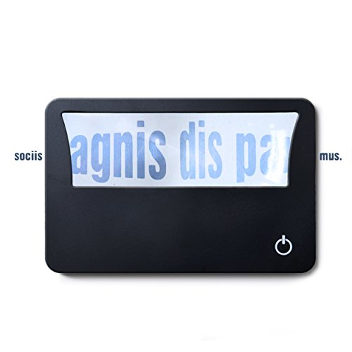 Credit Card Magnifier with LED Light- Exact Size that Fits Easily in your Wallet or Pocket - Lighting up in Dark places, this magnifier Offers 3X or 300% Visual Amplification - Normal Glass Size