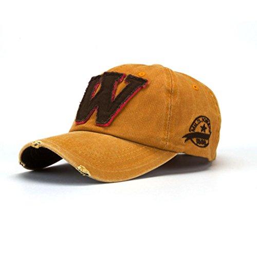 Unisex Vintage W Letter Print Retro Hats Summer Hockey Baseball Caps (A)