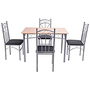 Giantex 5PCS Wood And Metal Dining Set Table And 4 Chairs Home K