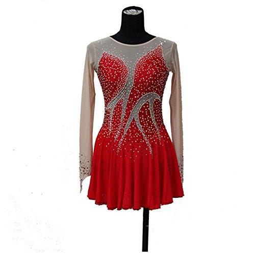 ファッション カスタム フィギュア スケート ドレス レディース アイススケート 競争ドレス クリスタル付き A2180