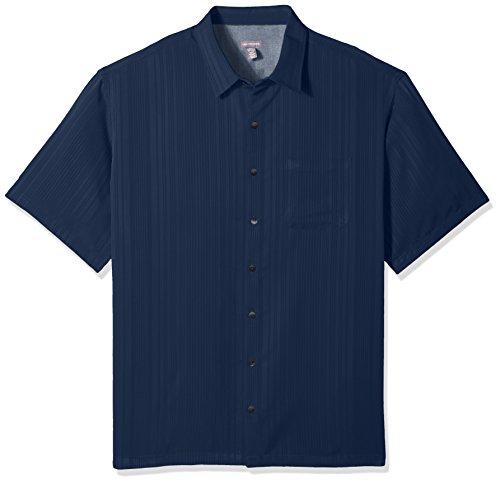 Van Heusen Mens Big and Tall Short Sleeve Rayon Poly Engineered Panel Shirt (Big and Tall & Tall Slim)