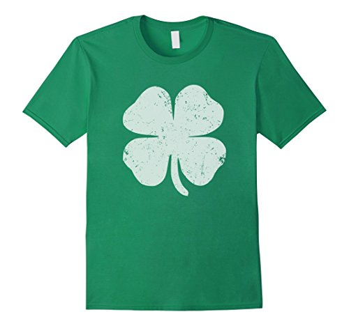 Mens Four Leaf Clover T-shirt Large Kelly Green