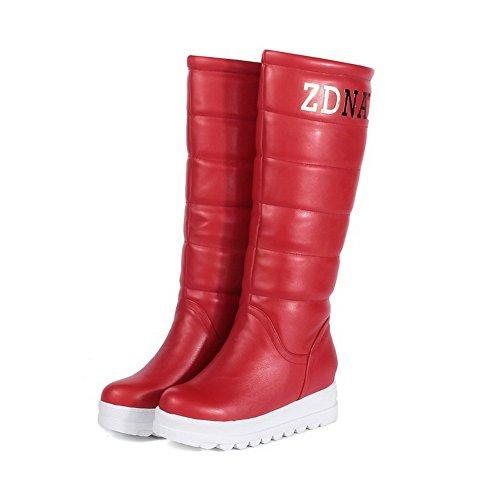 AllhqFashion Damen Rund Zehe Ziehen auf Mittler Absatz PU Leder Mittler Kalb Stiefel, Pink, 36