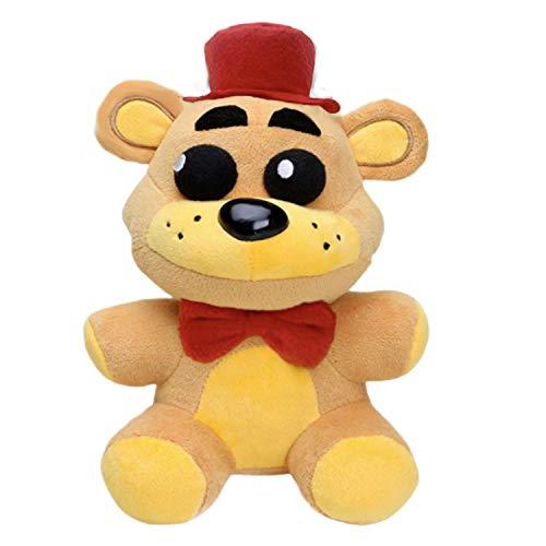 "10"" FNAF Plush Golden Freddy, Fazbear Toys Five Night Freddy's Golden Bear Red Hat, Limited Quantity Stuffed Dolls FNAF Plushies (Golden Bear Red Hat)"