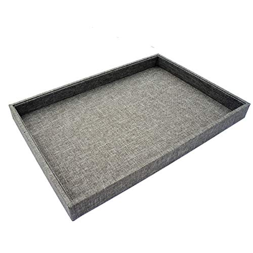 Grey Linen Burlap Plain Jewelry Display Case Tray for Shop Store Trade Show Flea Market 35x24cm