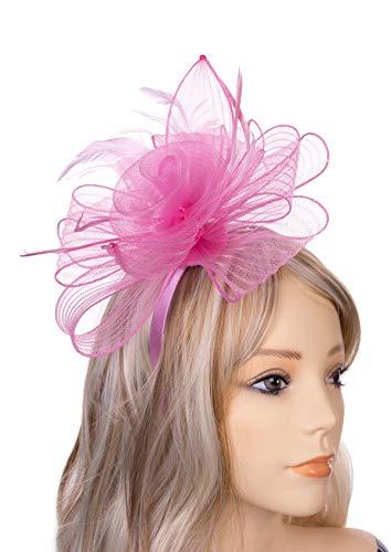 JASMINO Fascinators Hats Women Tea Party Headband Derby Fancy Hats with Hair Clip Wedding Cocktail Headwear for Girl (Pink) ()