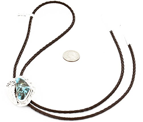 $480 Retail Tag Handmade Authentic Silver Navajo Natural Turquoise Native American Bolo Tie