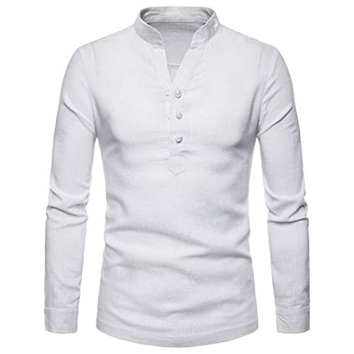 kaifongfu Henry Tops,Men's Plus Size Linen Long Sleeve Shirt for Autumn and Winter (White,M)