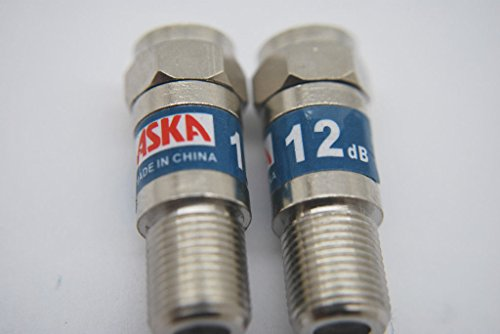 2 ASKA CABLE TV 12dB FIXED ATTENUATOR PADS 5-2050 MHZ ()