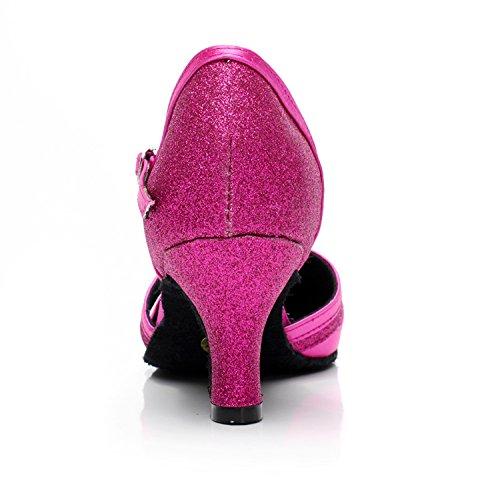 Dance Ballroom MINITOO 5 M Womens Pumps 5 Latin Purple UK GQJ7012 Comfortable Wedding Glitter XnqAPqS0w
