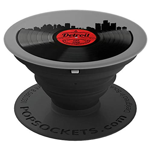 Detroit PopSocket Grip City Skyline Vinyl Record Music Gift - PopSockets Grip and Stand for Phones and -