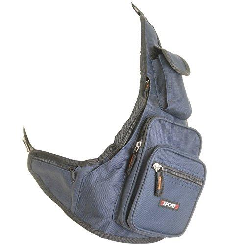 Cesaro® - Bolso al hombro de poliéster para hombre negro negro azul marino