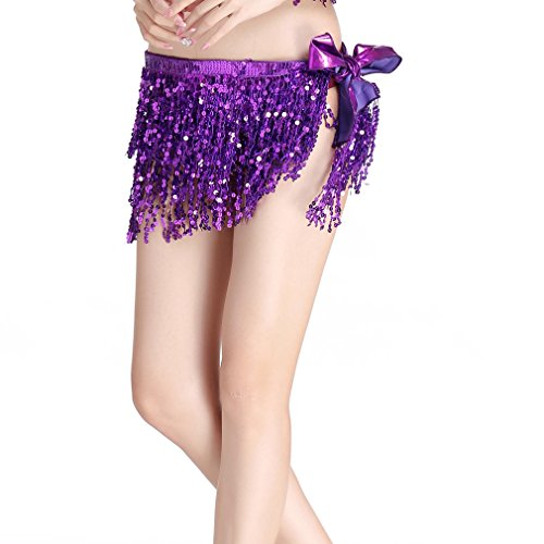 ZLTdream Women's Belly Dance Hip Scarf with Three Rows of Sequins Fringe Purrple