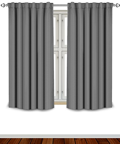 Utopia Bedding Blackout Room Darkening and Thermal Insulating Window Curtains/Panels/Drapes - 2 Panels Set - 7 Back Loops per Panel - 2 Tie Backs Included (Grey, 52 x 63) (Best Grey For Bedroom)