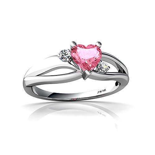 14kt White Gold Lab Pink Sapphire and Diamond 5mm Heart Split Band Swirl Ring - Size 4 ()