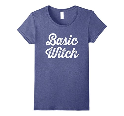 Womens Basic Witch T-shirt, funny easy Halloween costume t-shirt Large Heather Blue (Easy Basic Halloween Costumes)