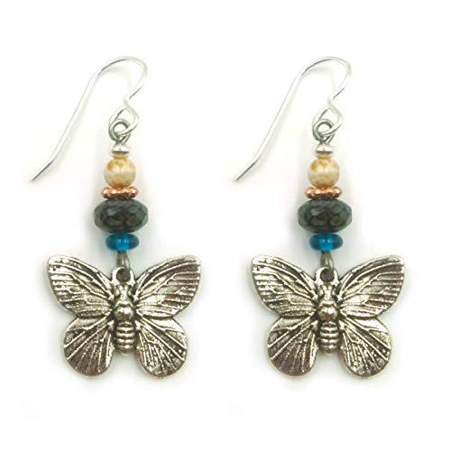 Antique Butterfly Ring - Butterfly Drop Dangle Earrings Antique Silver Plated with Dark Aqua Blue, Black and Bone Color Glass Beads for Women